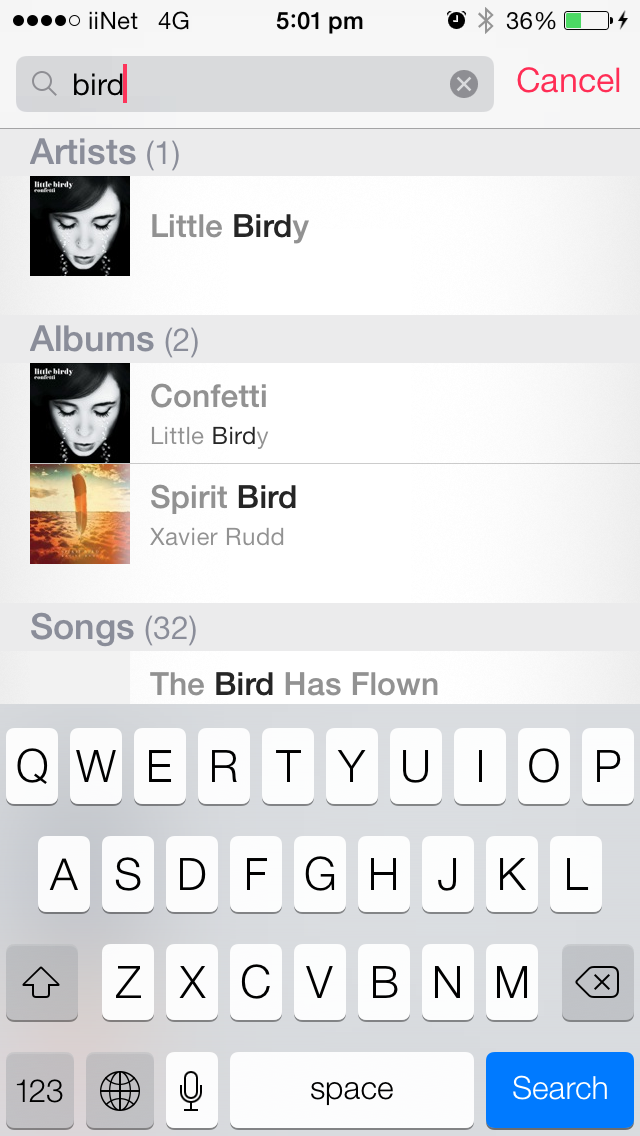 Search on Native iOS Music App